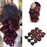 Ruma Hair Ombre #1B/99J Burgundy Pre Plucked 360 Full Lace Frontal Closure With Bundles Two Tone Malaysian Soft Virgin Human Hair Body Wave With Wine Red 360 Lace Band Frontals (22+26 28 30)