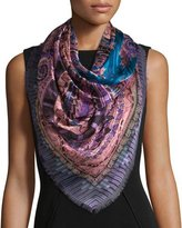 Etro Silk Paisley Square Scarf, Blue/Purple