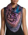 etro silk paisley square scarf bluepurple