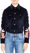Sandro Cylia Cropped & Embroidered Velvet Jacket