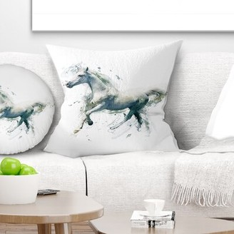 """White Horse East Urban Home in Motion on White Animal Pillow East Urban Home Size: 16"""" x 16"""", Product Type: Throw Pillow"""