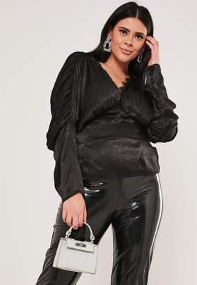 Missguided Plus Size Black Satin Lace Trim Top