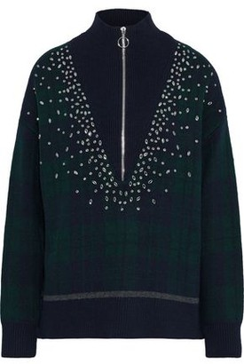 Sandro Patience Crystal-embellished Checked Intarsia-knit Sweater