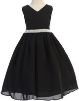 Ellie Kids Girls' Special Occasion Dresses Black - Black Rhinestone-Trim Sleeveless A-Line Dress - Toddler & Girls