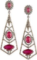 Bavna Geometric Composite Ruby & Diamond Dangle Earrings