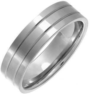 Theia Titanium Flat Court Shape Double Grooved 6mm Ring - Size S