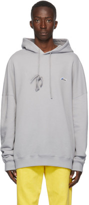 we11done Grey Iridescent Logo Hoodie