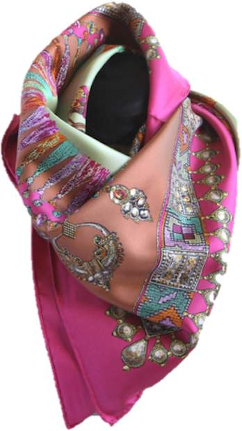 Belle Epoque L'illustration Pink Jeweled Princess Silk Scarf