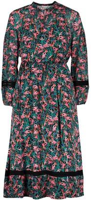 Escada Long-Sleeve Bird Print Dress