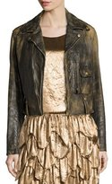 Ralph Lauren Dwight Distressed Leather Jacket, Black