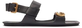 Gucci Sonique Gg-plaque Leather Sandals - Black