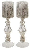"""A&B Home Silver Crackle Candle Holder - 16"""""""