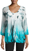 Chelsea & Theodore Tie-Dye 3/4-Sleeve Draped Top W/ Tank, Turquoise