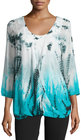 chelsea theodore tiedye 34sleeve draped top w tank turquoise