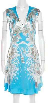 Roberto Cavalli Blue Floral Printed Satin Sleeveless Flared Dress S