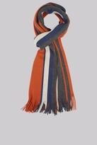 Moss Bros Orange Knitted Block Stripe Scarf