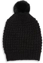 Jocelyn Fox Fur Accented-Pom Pom Beanie