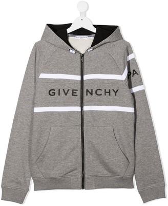 Givenchy Kids TEEN logo-print zip-up hoodie