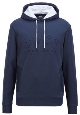 HUGO BOSS Logo-print hooded sweatshirt in a double-faced cotton blend