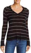 Minnie Rose Distressed Striped Cashmere Sweater