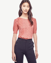Ann Taylor Petite Dot Shirred Short Sleeve Blouse