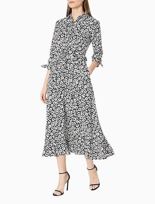 Calvin Klein Floral 3/4 Sleeve Belted A-Line Midi Shirt Dress
