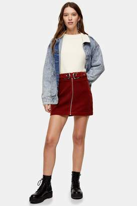 Topshop Rust Corduroy Double Buckle Mini Skirt