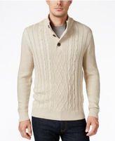 Tricots St. Raphael Men's Faux Sherpa Trim Cable-Knit Mock Neck Sweater