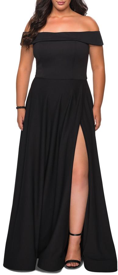 La Femme Plus Size Off-the-Shoulder Jersey A-Line Gown
