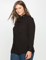 ELOQUII Plus Size Button Up Yoke Bow Blouse
