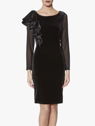 Gina Bacconi Karla Satin Ruffle Dress, Black