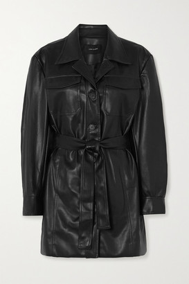 Low Classic Belted Faux Leather Shirt - Black