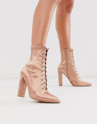 Asos Design DESIGN Equals lace up block heel boots in pink satin