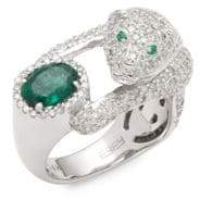 Effy Diamond, Emerald & 14K White Gold Solitaire Ring