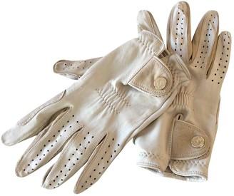 Saint Laurent Ecru Leather Gloves