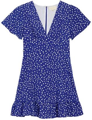 MelloDay V-Neck Short Sleeve Ditsy Print Dress