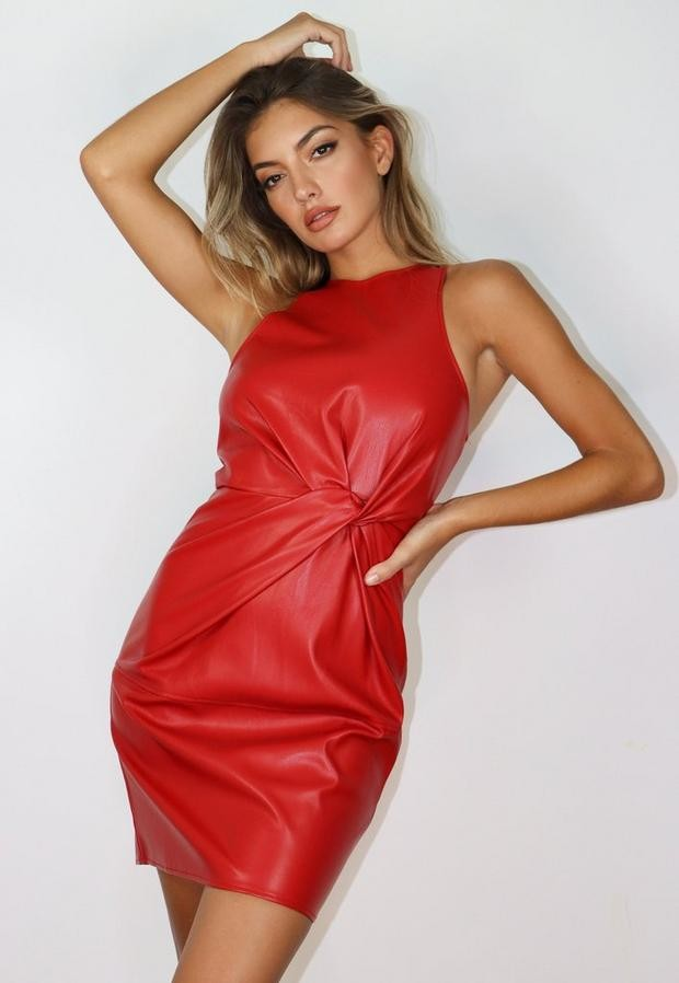 Missguided Petite Red Faux Leather Twist Front Mini Dress