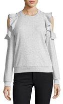 Rebecca Minkoff Gracie Crewneck Cold-Shoulder Cotton Sweatshirt