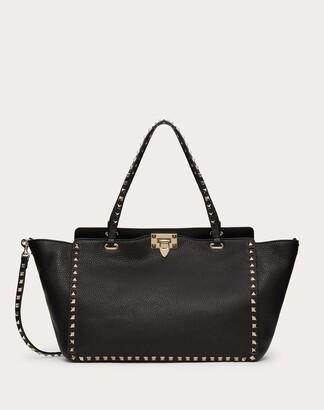 Valentino Medium Grain Calfskin Leather Rockstud Bag Women Black Cotton, Polyester OneSize