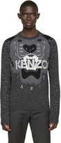 Kenzo Black and Grey Tiger Sweater