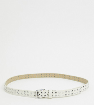 Accessorize studded belt with silver buckle in white