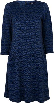 Wallis Blue Geometric Print Jacquard Swing Dress