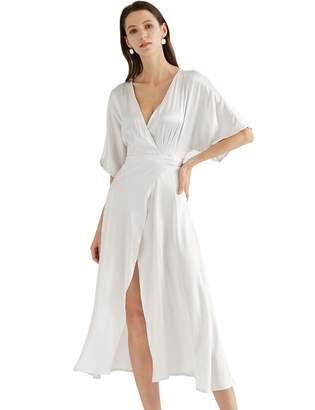 MEHEPBURN Women's 100% Silk Deep V Neck Wrap Dress Sexy High Split Party Maxi Long Dresses with Belt White-Grey S
