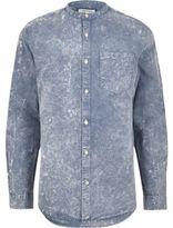 River Island Blue Acid Wash Oxford Grandad Shirt