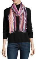 Missoni Long Metallic Fringe Zigzag Scarf, Pink/Purple