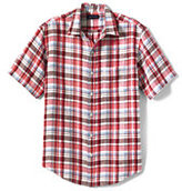 Classic Men's Tall Traditional Fit Short Sleeve Linen Pattern Shirt-Soft Royal Multi Plaid