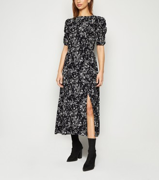 New Look Floral Puff Sleeve Side Split Midi Dress