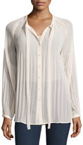 Romeo & Juliet Couture Tie-Neck Pleated-Yoke Blouse, Ivory