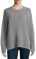 Halston Long-Sleeve Jacquard Sweater, Gray
