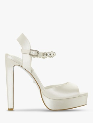 Dune Bridal Collection Miracle Satin Platform Embellished Sandals, Ivory